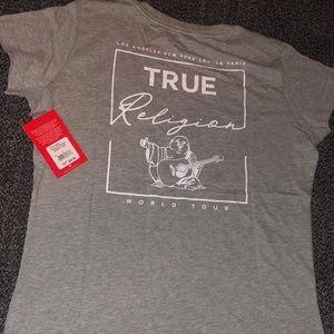 Women grey and white true religion t shirt v neck
